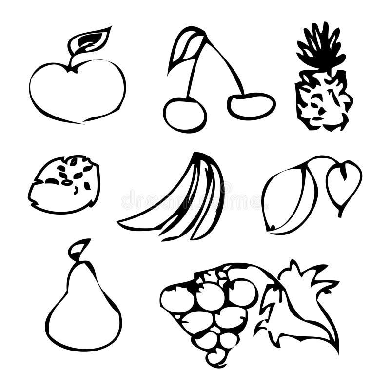 Σύνολο μαύρων φρούτων και μούρων Καθορισμένα εικονίδια Doodle για το δημιουργικό σχέδιο ελεύθερη απεικόνιση δικαιώματος