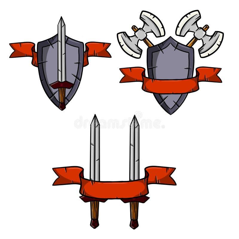 Σύνολο μεσαιωνικών όπλων και τεθωρακισμένου διανυσματική απεικόνιση