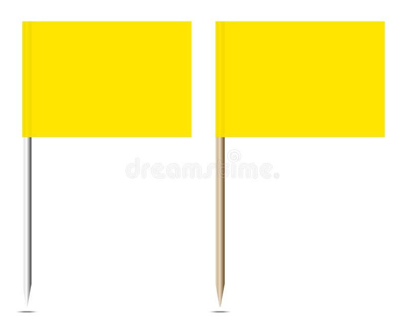Σύνολο μετάλλου και ξύλου δύο κίτρινου καρφιτσών σημαιών ελεύθερη απεικόνιση δικαιώματος