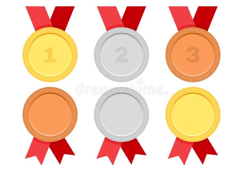 Σύνολο μεταλλίων βραβείων με την κόκκινη κορδέλλα Χρυσός, ασήμι και χαλκός διάνυσμα διανυσματική απεικόνιση