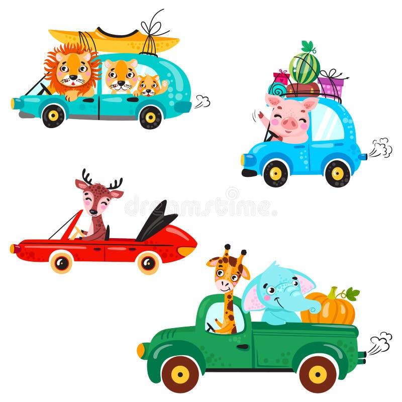Σύνολο μεταφοράς παιδιών με το λιοντάρι, τη βάρκα, το κανό, giraffe, τον ελέφαντα, τα ελάφια, το καρπούζι και τα δώρα Χαριτωμένος ελεύθερη απεικόνιση δικαιώματος