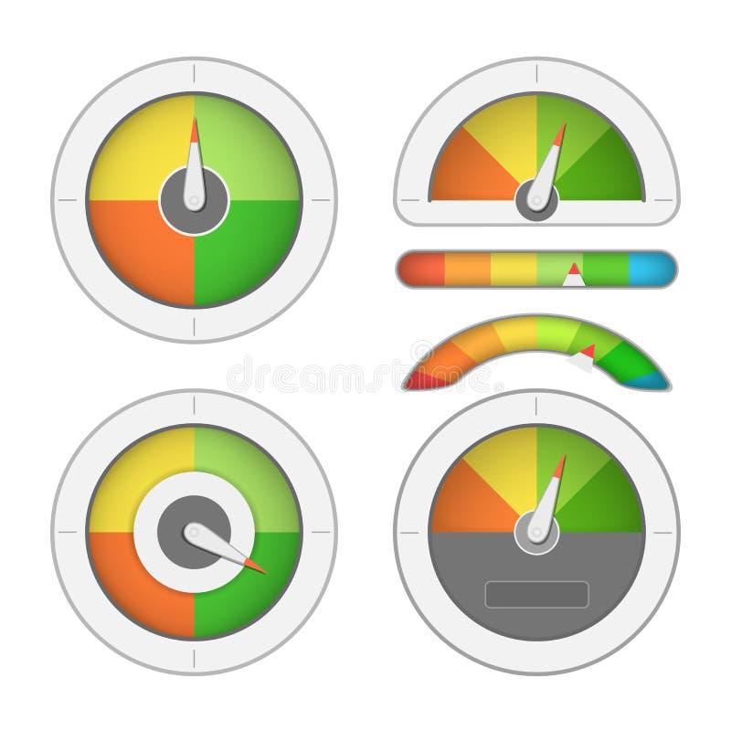 Σύνολο μετρητών μετρητών διανυσματική απεικόνιση