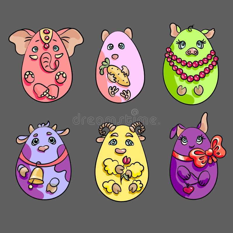 Σύνολο με 6 ζώα σε μια μορφή των αυγών Αυτά τα χαριτωμένα ζώα είναι διανυσματική απεικόνιση