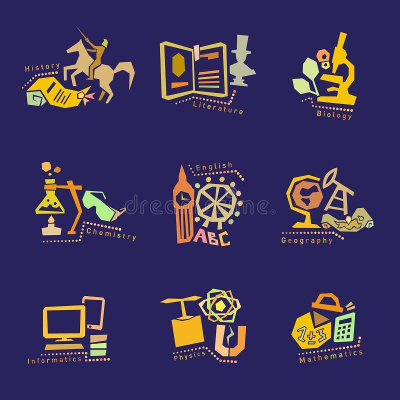 Σύνολο με τα εικονίδια σχολικών θεμάτων για το σχέδιο διάνυσμα απεικόνιση αποθεμάτων