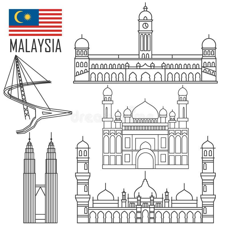Σύνολο με τα ορόσημα της Μαλαισίας στο ύφος περιλήψεων απεικόνιση αποθεμάτων