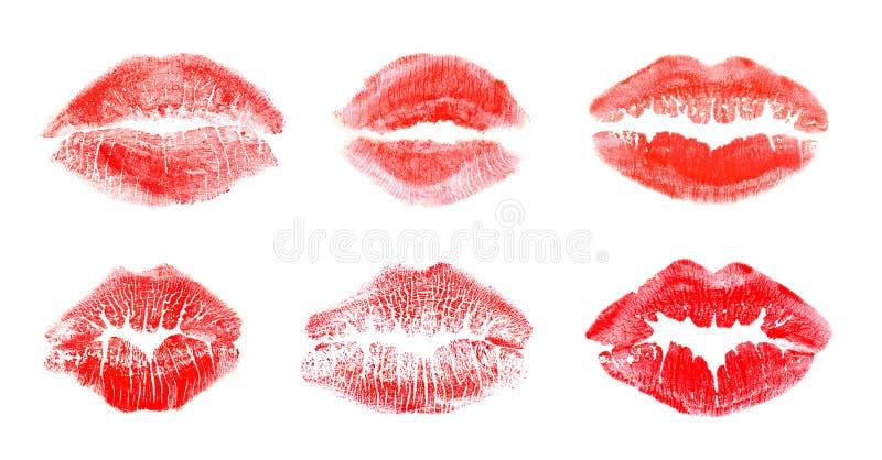 Σύνολο με τα σημάδια φιλιών κραγιόν χρώματος στο άσπρο υπόβαθρο στοκ φωτογραφία με δικαίωμα ελεύθερης χρήσης