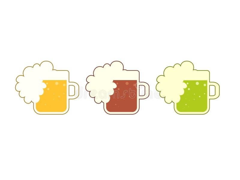Σύνολο με την κούπα μπύρας με τον πλήρη αφρό απεικόνιση αποθεμάτων