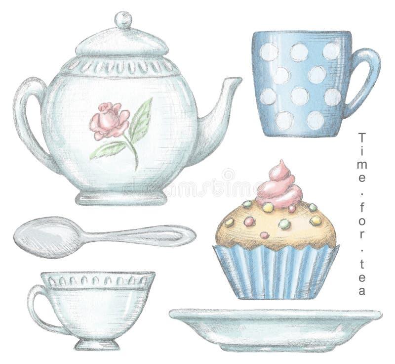Σύνολο με την κούπα, φλυτζάνι, κουταλάκι του γλυκού, teapot, πιάτο και cupcake απεικόνιση αποθεμάτων