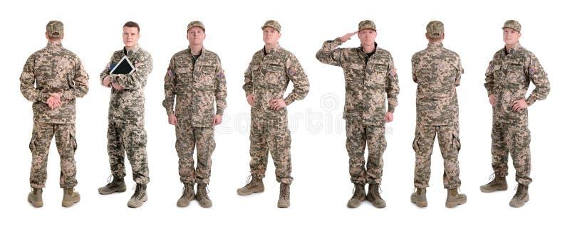 Σύνολο με τον αρσενικό στρατιώτη στο άσπρο υπόβαθρο στοκ εικόνες