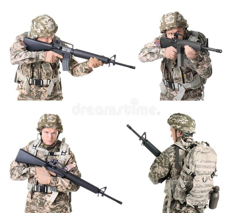 Σύνολο με τον αρσενικό στρατιώτη στο άσπρο υπόβαθρο στοκ φωτογραφίες