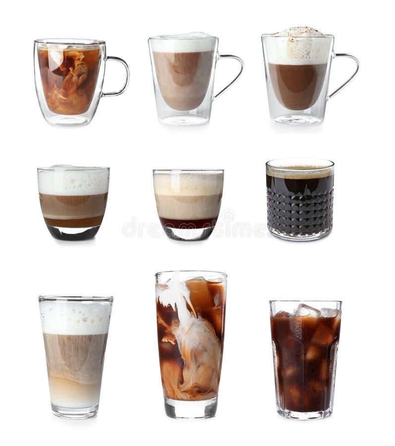 Σύνολο με τους διαφορετικούς τύπους ποτών καφέ στοκ εικόνες