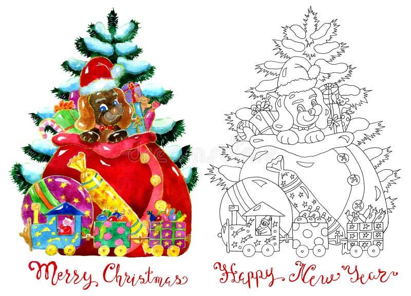 Σύνολο με το αστείο κουτάβι στην τσάντα Santa απεικόνιση αποθεμάτων