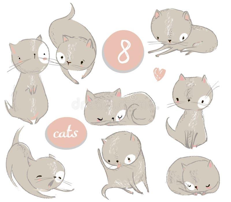 Σύνολο με το χαριτωμένο γατάκι κινούμενων σχεδίων ελεύθερη απεικόνιση δικαιώματος