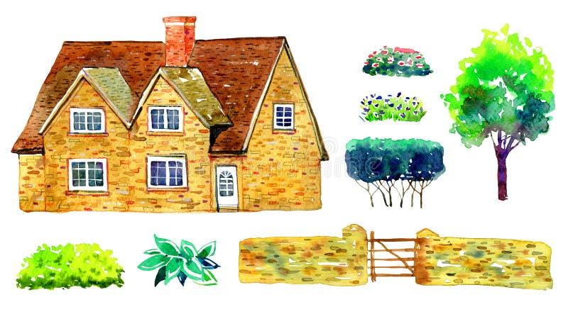 Σύνολο με το countryhouse, το δέντρο, το φράκτη, τους Μπους και τις εγκαταστάσεις Παλαιό σπίτι της Ευρώπης πετρών Watercolor r ελεύθερη απεικόνιση δικαιώματος