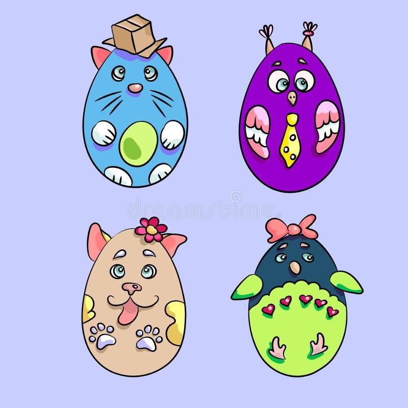 Σύνολο με 4 χαριτωμένα ζώα σε μια μορφή των αυγών Πάσχας Υπάρχει εναλλασσόμενο ρεύμα διανυσματική απεικόνιση