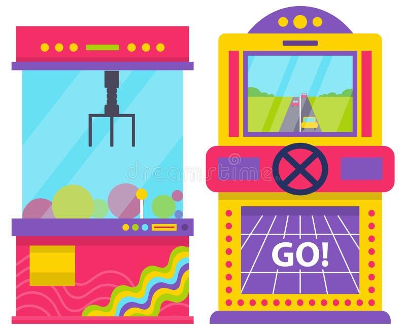 Σύνολο μηχανημάτων παιχνιδιών, φυλή αυτοκινήτων και νύχι για τα παιχνίδια ελεύθερη απεικόνιση δικαιώματος