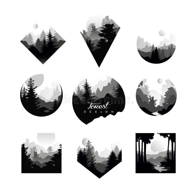 Σύνολο μονοχρωματικών γεωμετρικών λογότυπων με τα άγρια κωνοφόρα δάση Φυσικά τοπία με τις σκιαγραφίες των δέντρων πεύκων ή έλατου διανυσματική απεικόνιση