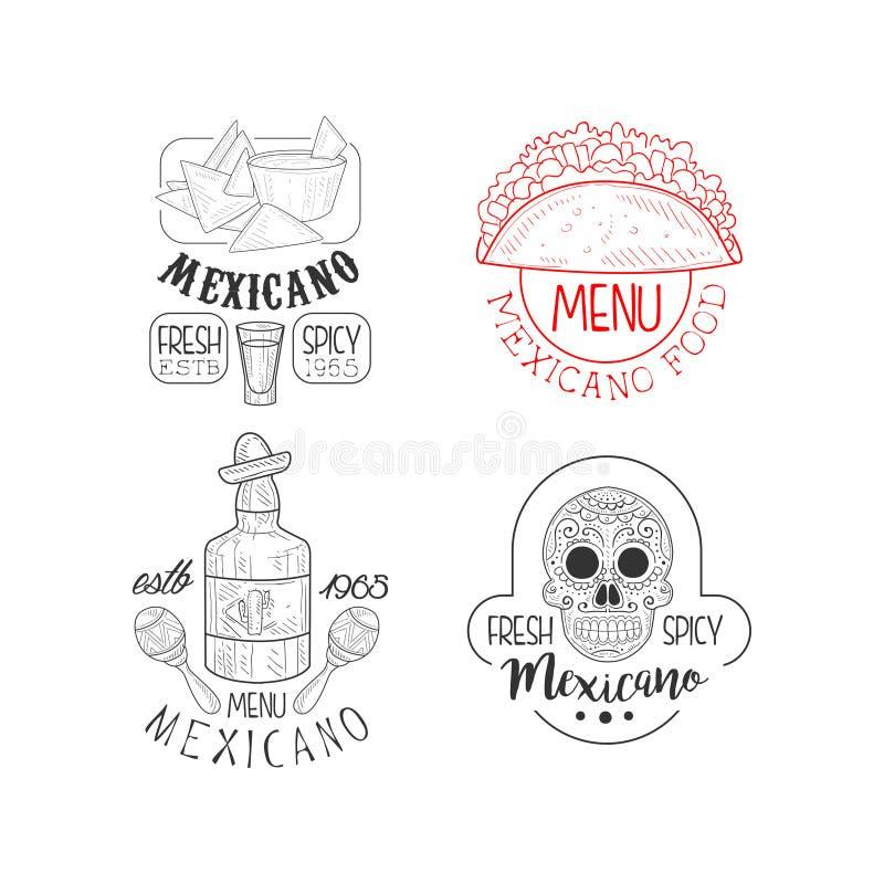 Σύνολο μονοχρωματικών μεξικάνικων λογότυπων Εμβλήματα ύφους σκίτσων με τα nachos και τα tacos, το tequila και το κρανίο Διάνυσμα  ελεύθερη απεικόνιση δικαιώματος