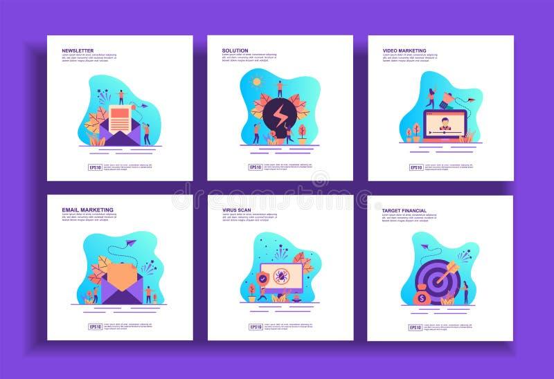 Σύνολο μοντέρνων προτύπων επίπεδης σχεδίασης για επιχειρήσεις, ενημερωτικά δελτία, λύση, μάρκετινγκ βίντεο, μάρκετινγκ μέσω email διανυσματική απεικόνιση