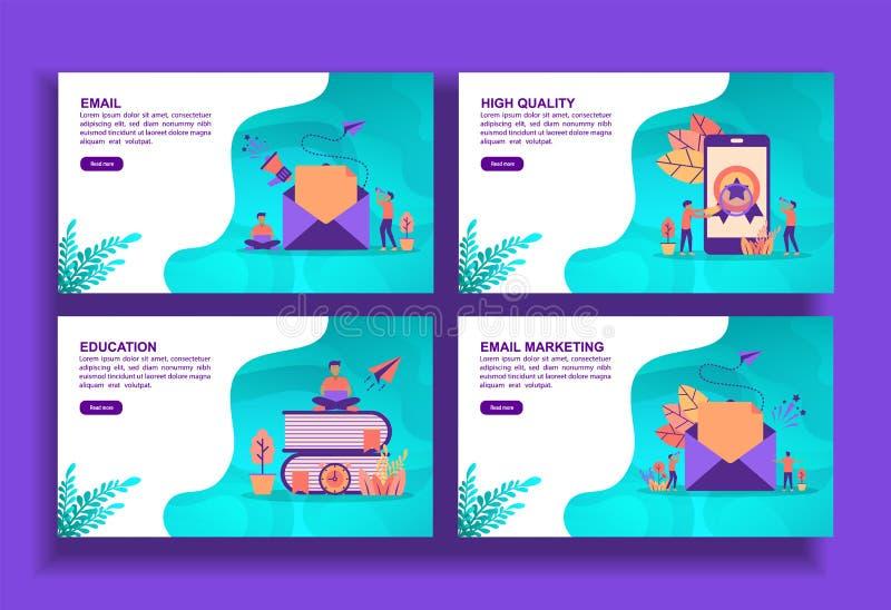 Σύνολο μοντέρνων προτύπων επίπεδης σχεδίασης για επιχειρήσεις, email, υψηλή ποιότητα, εκπαίδευση, μάρκετινγκ μέσω email Εύκολη επ διανυσματική απεικόνιση