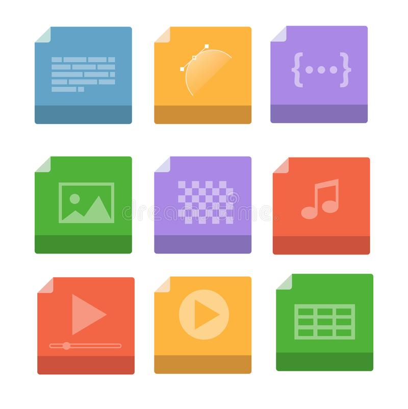 Σύνολο μορφών αρχείου εγγράφων και εικονιδίων ετικετών απεικόνιση αποθεμάτων