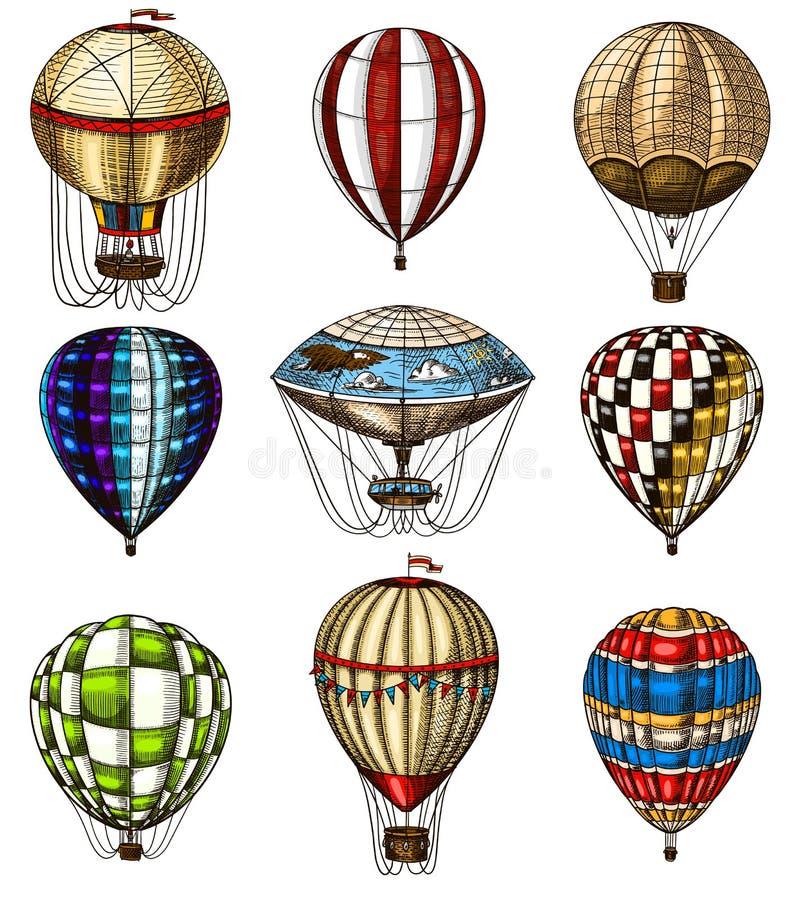 Σύνολο μπαλονιών ζεστού αέρα Διανυσματικά αναδρομικά πετώντας αεροσκάφη με τα διακοσμητικά στοιχεία Μεταφορά προτύπων για το ρομα διανυσματική απεικόνιση