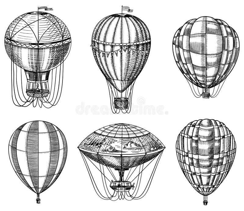 Σύνολο μπαλονιών ζεστού αέρα Διανυσματικά αναδρομικά πετώντας αεροσκάφη με τα διακοσμητικά στοιχεία Μεταφορά προτύπων για το ρομα ελεύθερη απεικόνιση δικαιώματος