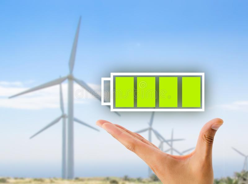 Σύνολο μπαταριών με τη eolic ενέργεια στοκ εικόνα με δικαίωμα ελεύθερης χρήσης