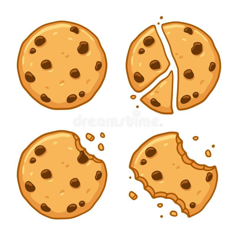 Σύνολο μπισκότων τσιπ σοκολάτας διανυσματική απεικόνιση