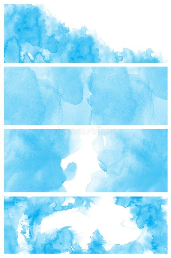 Σύνολο μπλε αφηρημένου χεριού watercolor που χρωματίζεται διανυσματική απεικόνιση