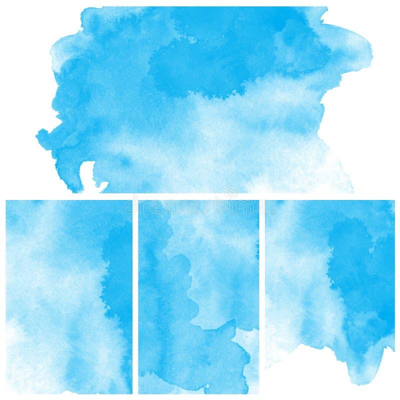 Σύνολο μπλε αφηρημένου χρώματος τέχνης υδατοχρώματος διανυσματική απεικόνιση