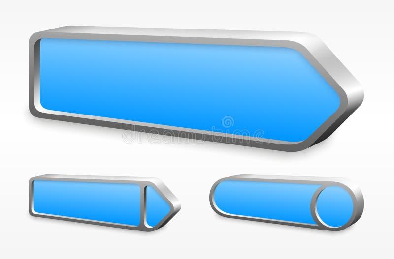 Σύνολο μπλε κουμπιών βελών μετάλλων διανυσματική απεικόνιση