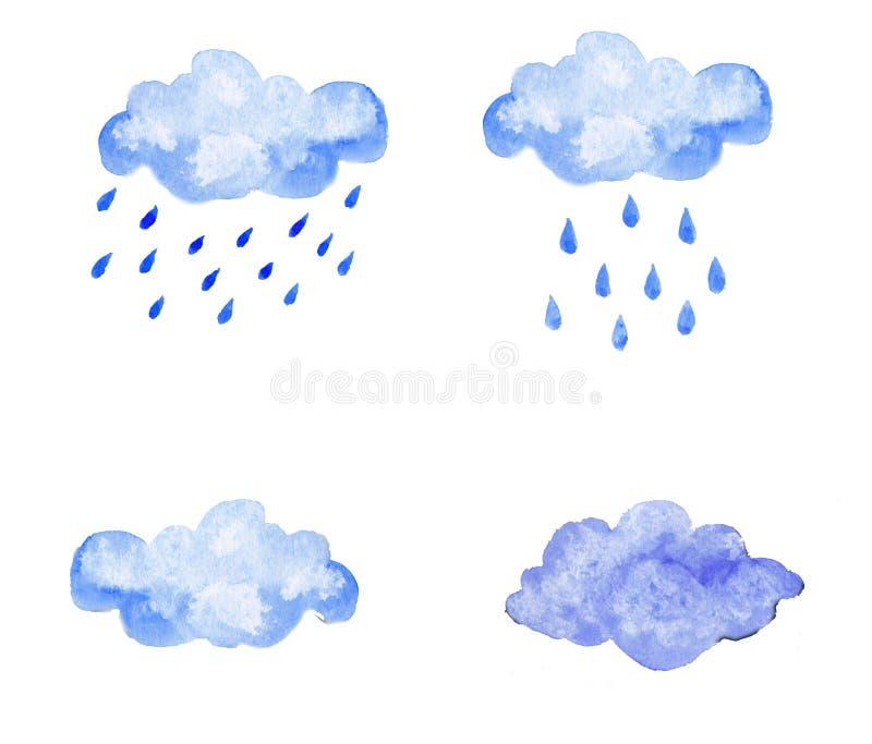 Σύνολο μπλε σύννεφων watercolor με την πτώση στοκ εικόνες