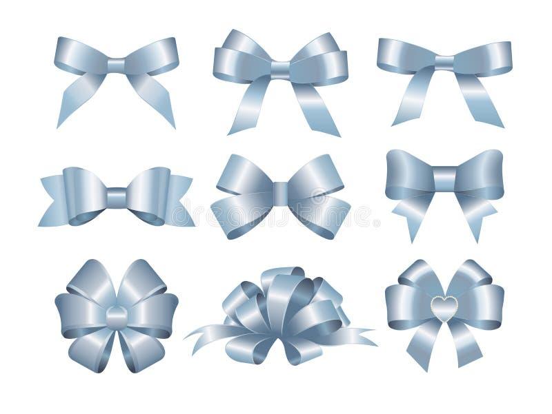 Σύνολο μπλε τόξων δώρων Έννοια για την πρόσκληση, τα εμβλήματα, τις κάρτες δώρων, τα συγχαρητήρια ή το διάνυσμα σχεδιαγράμματος ι ελεύθερη απεικόνιση δικαιώματος