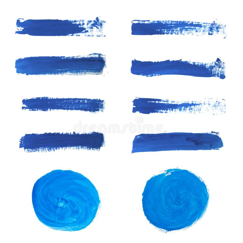 Σύνολο μπλε χρώματος χεριών, στρογγυλές μορφές, λωρίδες, κτυπήματα βουρτσών μελανιού, χρωματισμένοι χέρι κύκλοι, βούρτσες, γραμμέ ελεύθερη απεικόνιση δικαιώματος