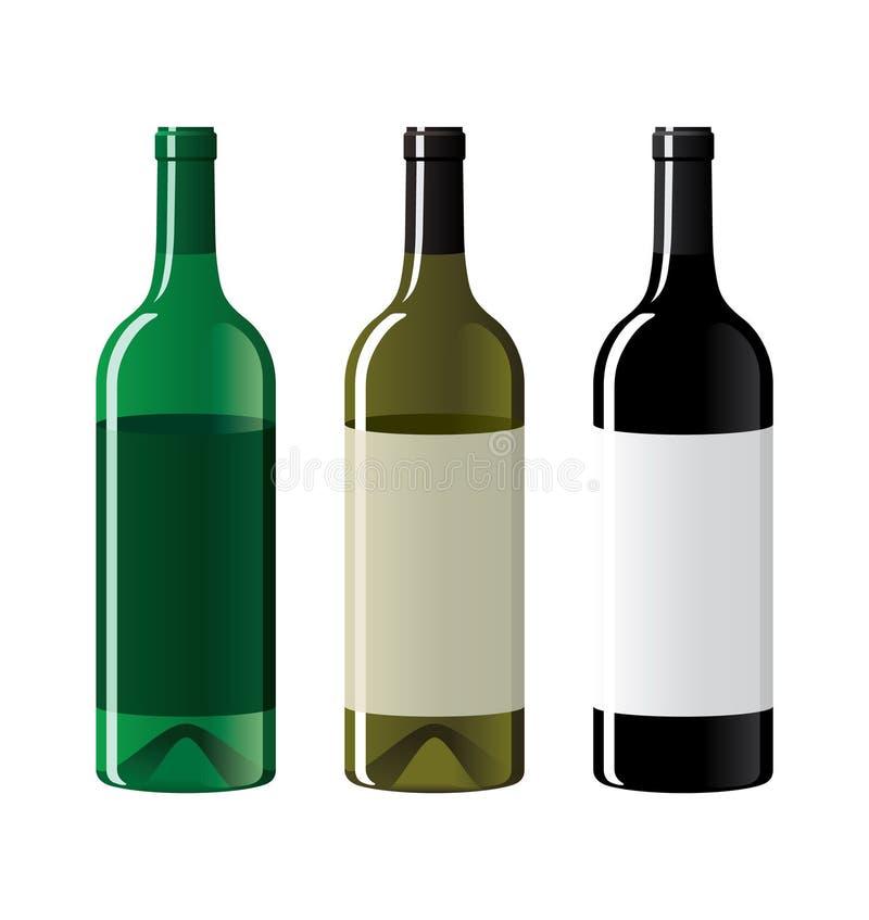 Σύνολο μπουκαλιών αμπέλων διανυσματική απεικόνιση