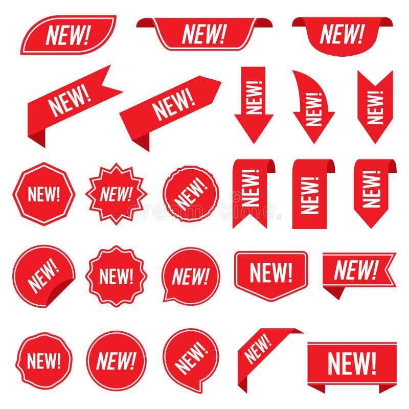 Σύνολο νέων κόκκινων ετικετών που απομονώνεται στο άσπρο υπόβαθρο ελεύθερη απεικόνιση δικαιώματος