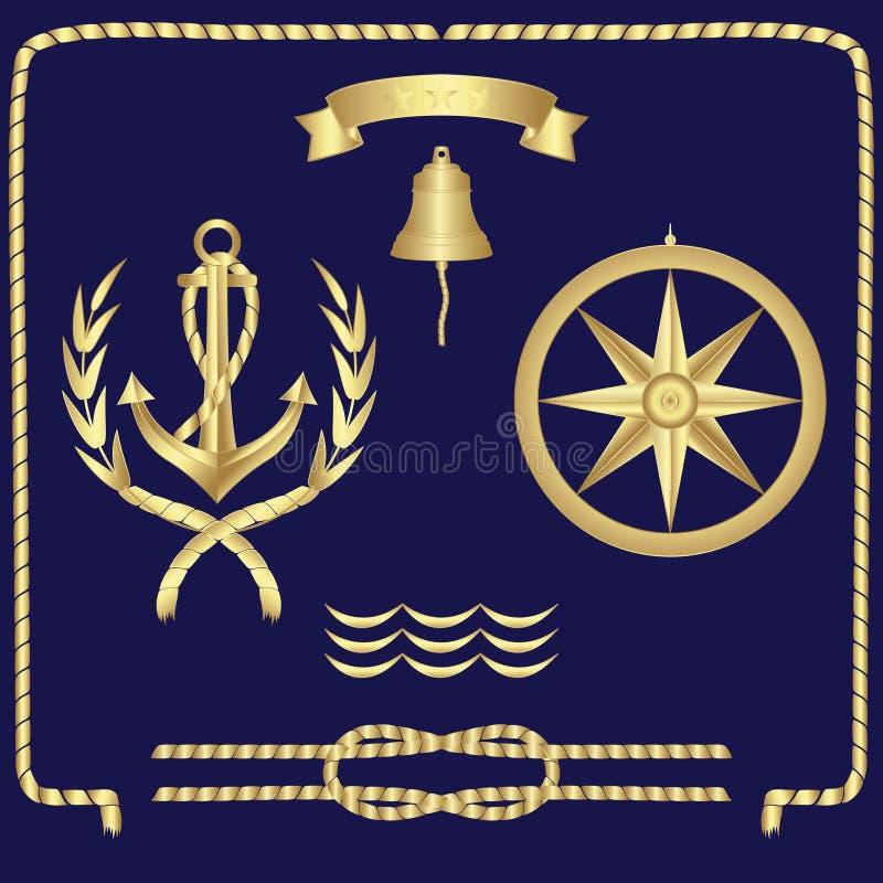 Σύνολο ναυτικής άγκυρας συμβόλων, σχοινιά, πυξίδα, κύματα διανυσματική απεικόνιση