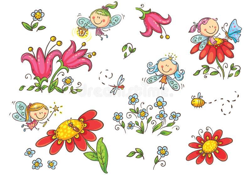 Σύνολο νεράιδων κινούμενων σχεδίων, εντόμων, λουλουδιών και στοιχείων, διανυσματική γραφική παράσταση απεικόνιση αποθεμάτων