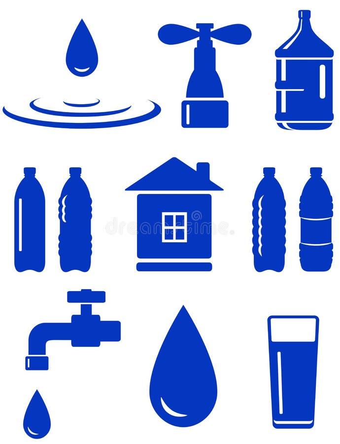 Σύνολο νερού εικονιδίου με το σπίτι, στρόφιγγα, απελευθέρωση, μπουκάλι διανυσματική απεικόνιση