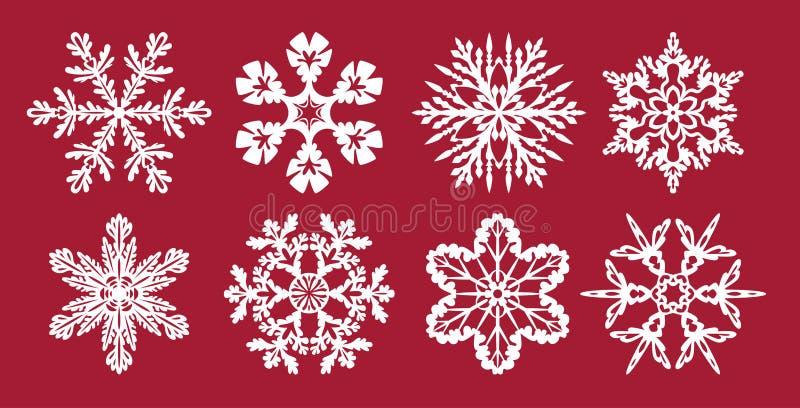 Σύνολο νιφάδων χιονιού Χριστουγεννιάτικα ή πρωτοχρονιάτικα διακόσμηση Πρότυπα για κοπή λέιζερ, κοπή σχεδιαστή ή εκτύπωση ελεύθερη απεικόνιση δικαιώματος
