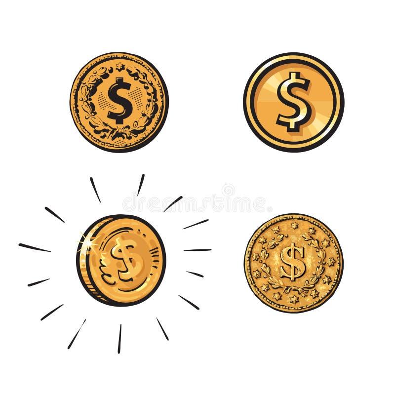 Σύνολο νομισμάτων με το σημάδι δολαρίων στις διαφορετικές μορφές Χάραξη, κινούμενα σχέδια σκίτσο, επίπεδο εικονίδιο Συρμένο χέρι  απεικόνιση αποθεμάτων