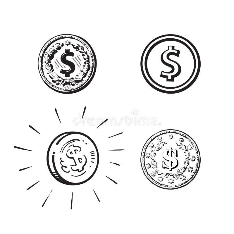 Σύνολο νομισμάτων με το σημάδι δολαρίων στις διαφορετικές μορφές Χάραξη, κινούμενα σχέδια σκίτσο, επίπεδο εικονίδιο Συρμένο χέρι  διανυσματική απεικόνιση