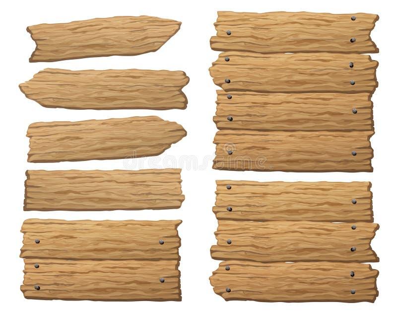 Σύνολο ξύλινου εμβλήματος, θέσεων σημαδιών ή πινάκων ελεύθερη απεικόνιση δικαιώματος