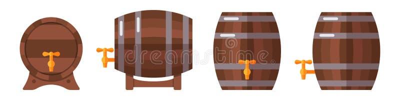 Σύνολο ξύλινων βαρελιών που απομονώνεται στο άσπρο υπόβαθρο απεικόνιση αποθεμάτων