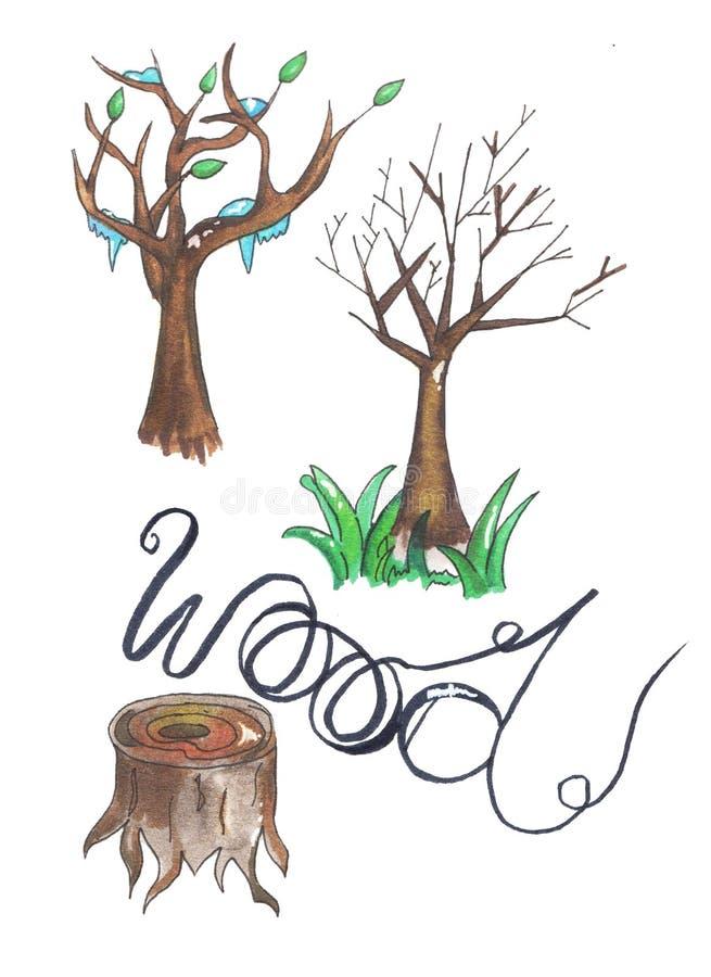 Σύνολο ξύλινων κούτσουρων δέντρων για τη δασονομία και τη βιομηχανία ξυλείας Απεικόνιση των κορμών, του κολοβώματος και των σανίδ στοκ φωτογραφία με δικαίωμα ελεύθερης χρήσης