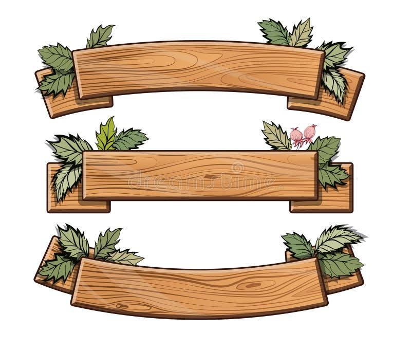 Σύνολο ξύλινων πιάτων πράσινο φύλλο απεικόνιση αποθεμάτων