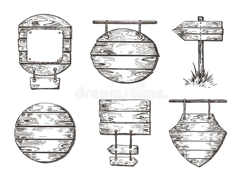 Σύνολο ξύλινων σημαδιών Γραφική παράσταση σκίτσων Υπόβαθρα θαλασσίων περίπατων ελεύθερη απεικόνιση δικαιώματος