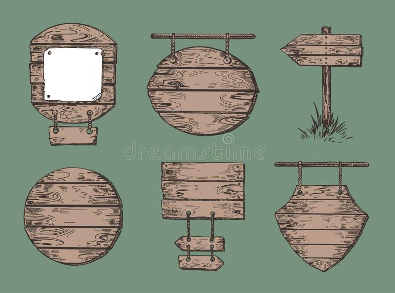 Σύνολο ξύλινων σημαδιών Γραφική παράσταση σκίτσων Υπόβαθρα θαλασσίων περίπατων διανυσματική απεικόνιση