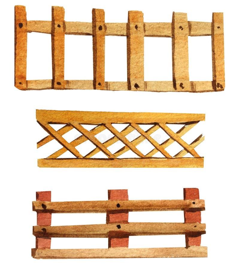 Σύνολο ξύλινων φρακτών watercolor διανυσματική απεικόνιση
